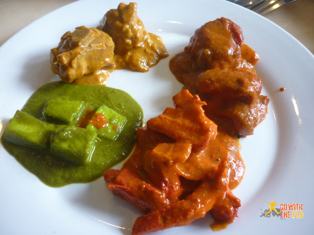 The three chicken dishes along with the paneer