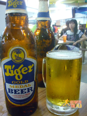 Snack during half-time (Tiger beer now sporting the retro design for SG50)