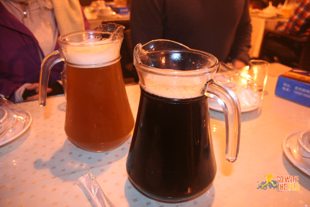 """Golden beer"" on the left and caramel beer on the right (not my taste)"