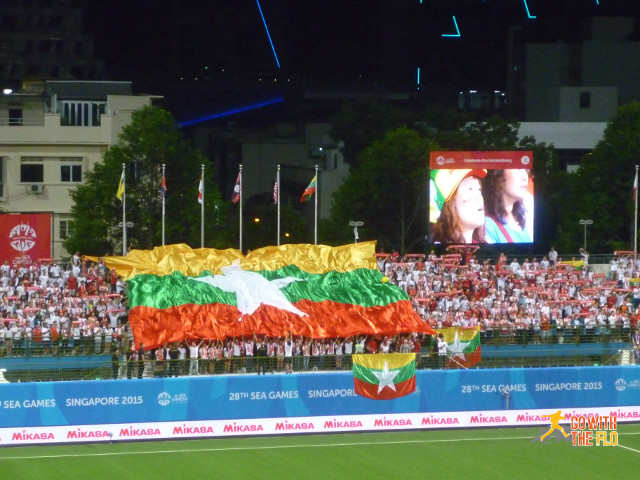 Myanmar fans during the national anthem