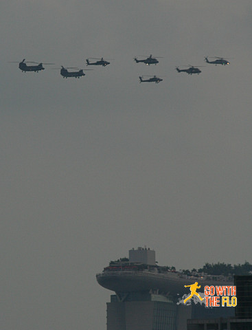 Another set of helicopters passing by Marina Bay Sands...