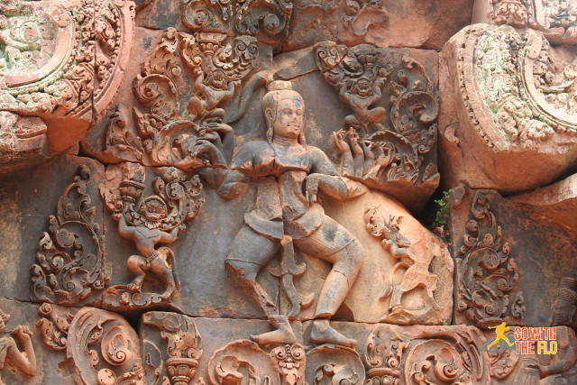 Close-up rock carving at Banteay Srei