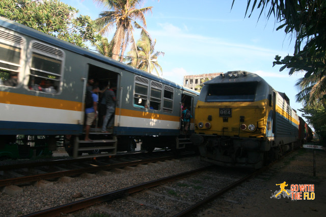 Two trains passing each other near Colombo. Not many stretches have dual tracks.
