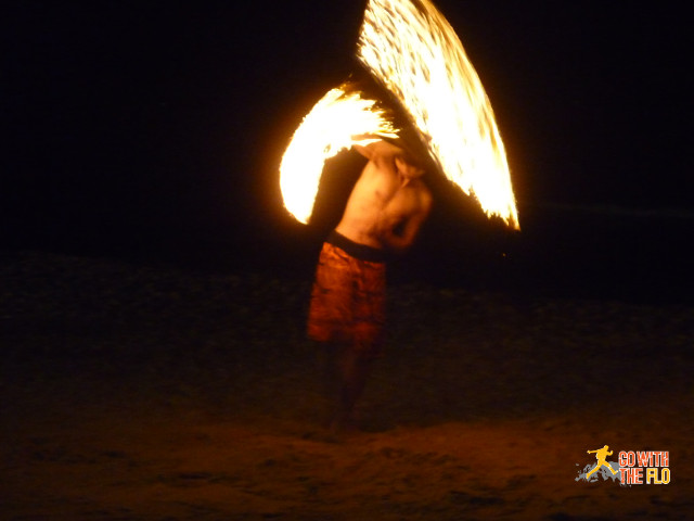 Fireshow in front of Paya Restaurant