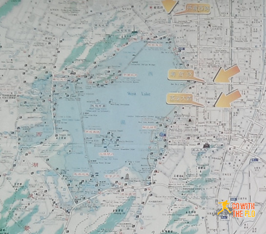 Map of the West Lake. Please excuse the quality, I only had my phone camera with me.