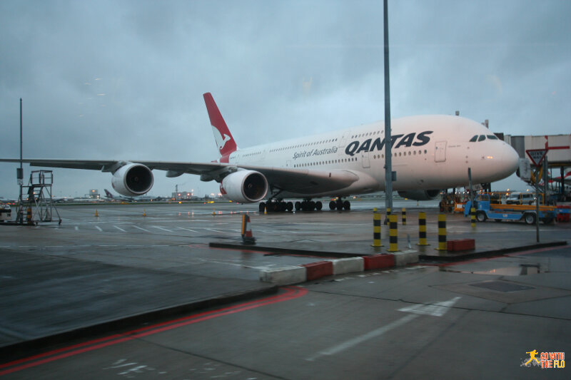 Qantas A380 seen on the sightseeing bus from T5 to T4