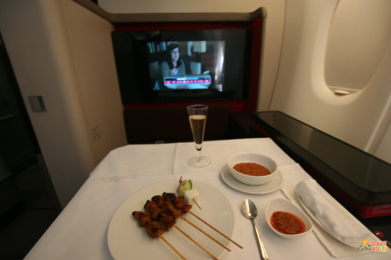Malaysia Airlines A380 First Class - Satay appetizer