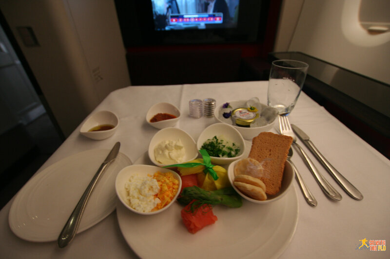 Malaysia Airlines A380 First Class - caviar