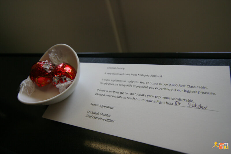 There were some chocolates and a message from the CEO placed at the seat