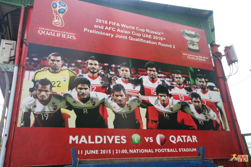 As exciting as Maldivian football gets - the National Stadium still advertises for last year's World Cup Qualifier against Qatar