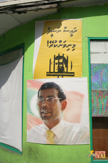 Poster demanding for the former president Mohamed Nasheed to be freed