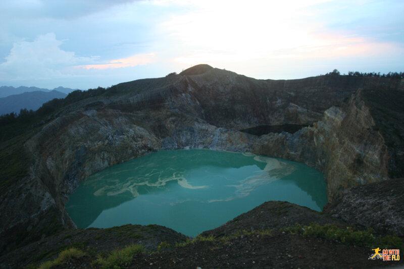Mount Kelimutu crater lakes just before sunrise