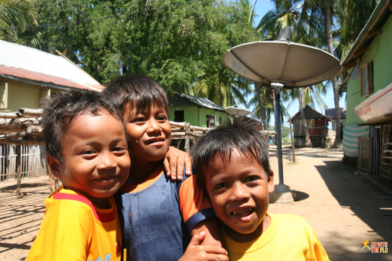 Kids at the local village on the island
