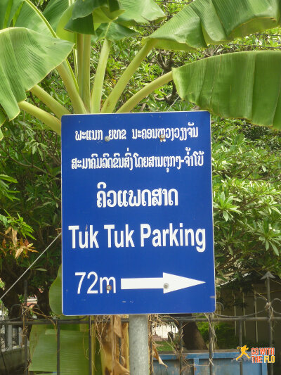 Rather specific directions - and not sure why anyone would need that info in English. I didn't see many (or any) foreigners trying to park their tuk-tuks.