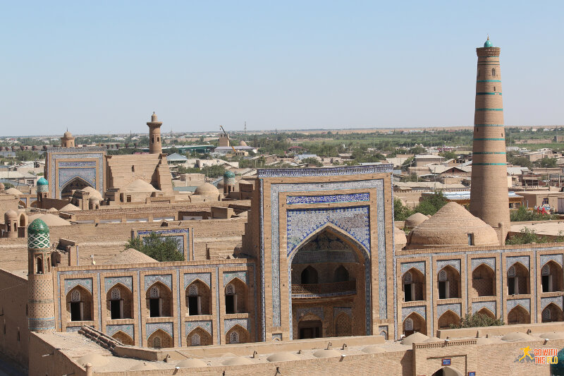 View from the watch-tower towards the Arabkhan Medressa (medressa = religious school)