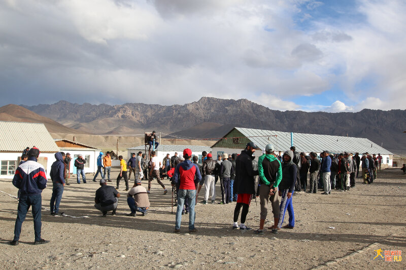 Locals playing volleyball in Murghab
