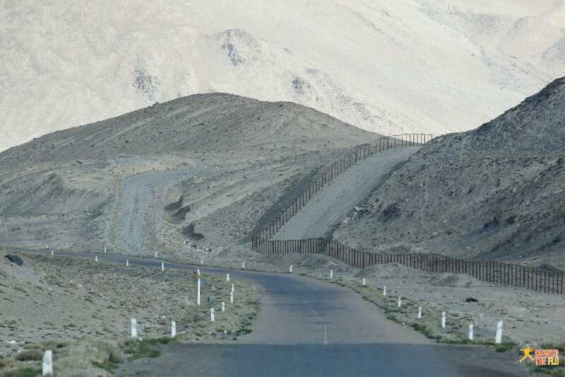 Barbed wire securing the border between Tajikistan and China