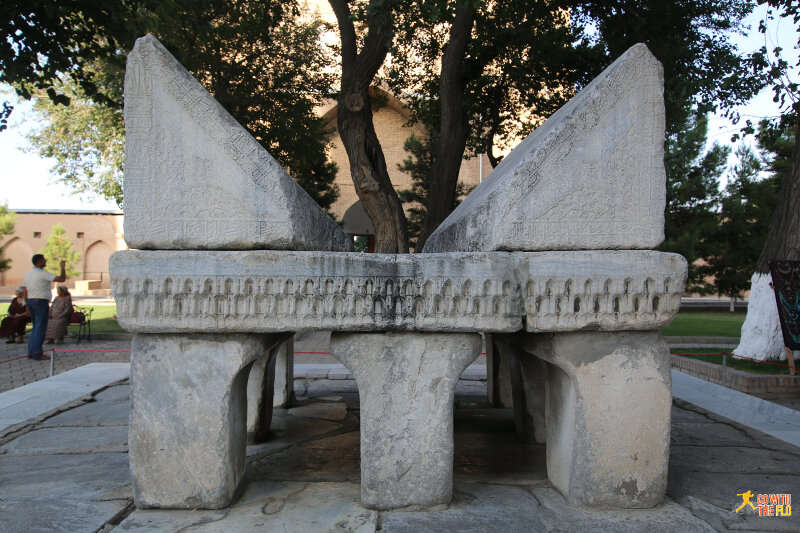 Marble Qurand stand in the Bibi-Khanym Mosque courtyard