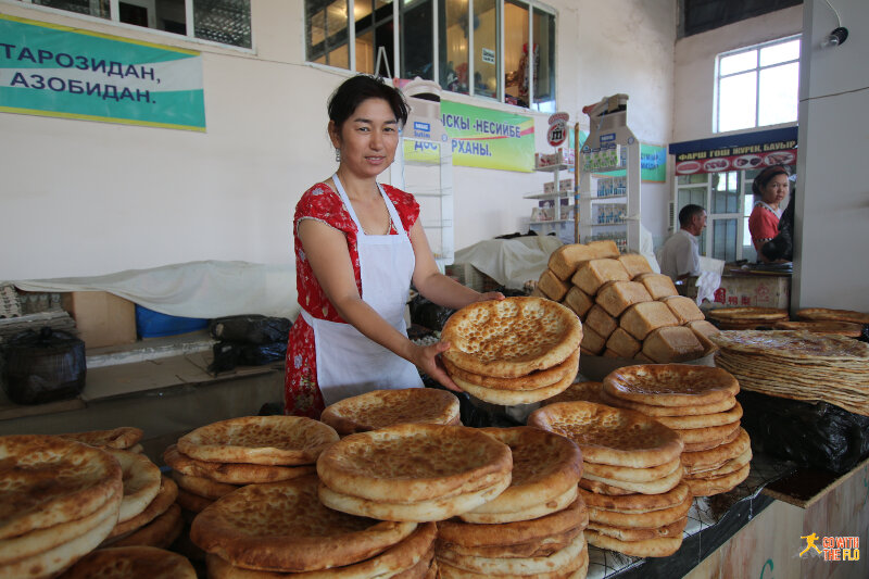 Bread stall at the Nukus Bazaar