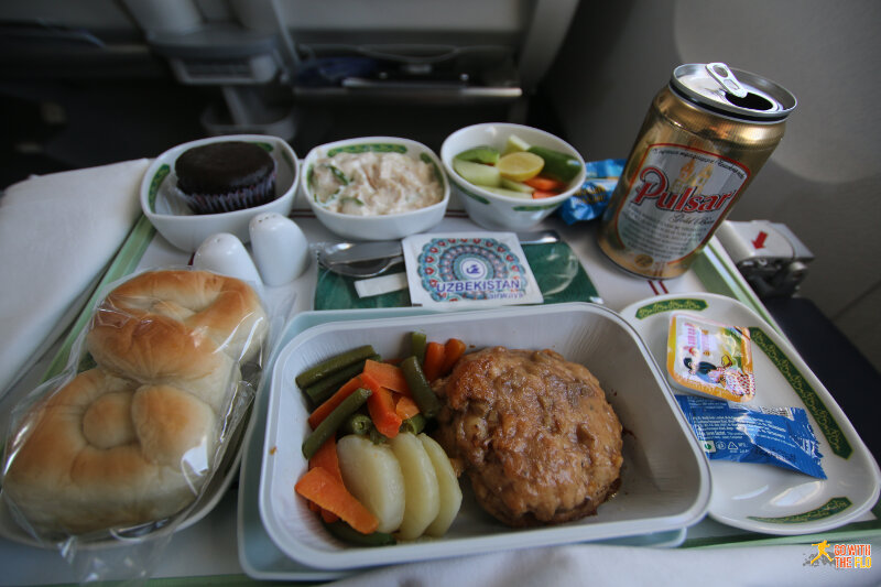 Uzbekistan Airways B763 business class meal ATQ-TAS