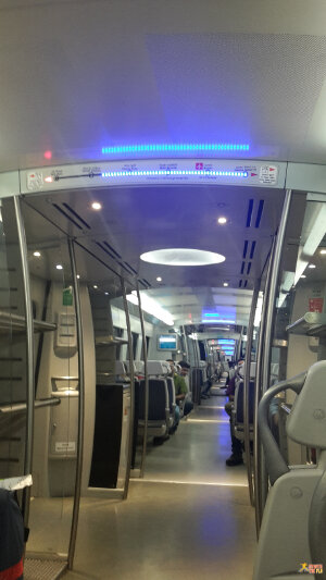 Inside the Airport Express on the way to New Delhi Railway Station