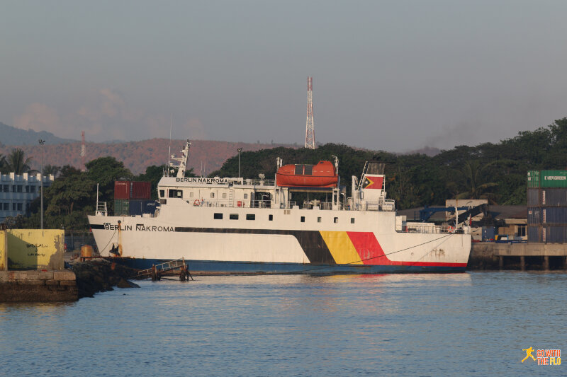 The island's biggest ferry, the Berlin Nakroma at Dili harbor. The German government financed the ferry (Nakroma means rising sun in Tetum).
