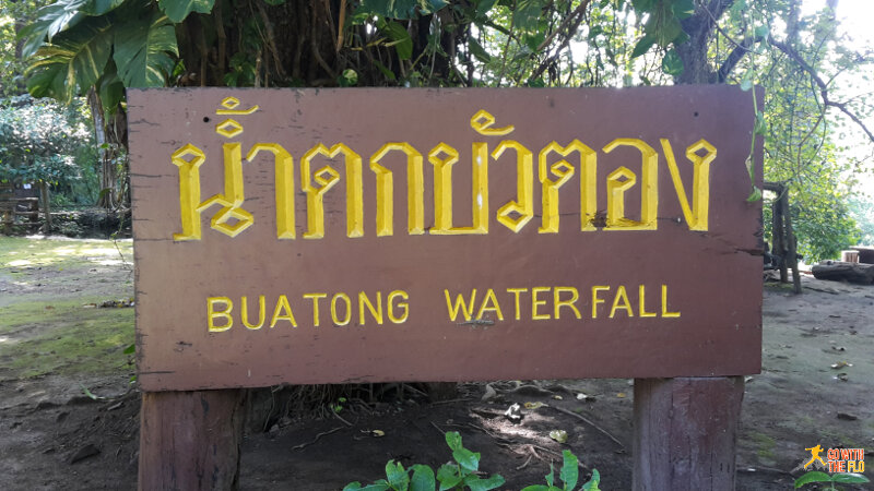 Sign at the top of the waterfalls