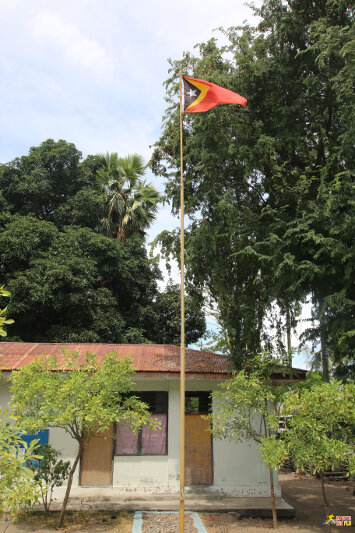 East Timorese flag on the island of Atauro