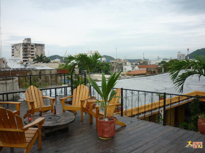 The common room at La Brisa Loca in Santa Marta, Colombia is on the rooftop.