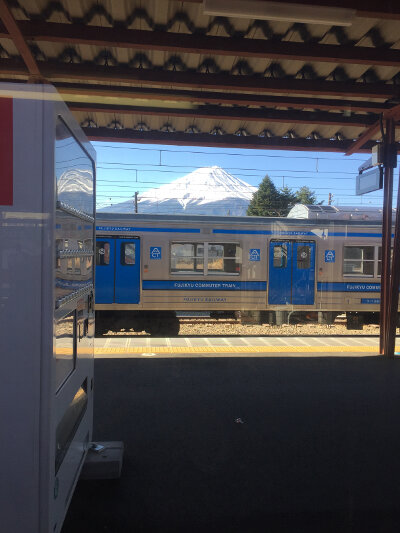 Mount Fuji seen from Fuji-Kawaguchiko Railway Station
