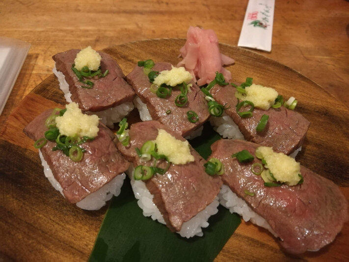Beef Sushi at 島料理居酒屋 あだん亭