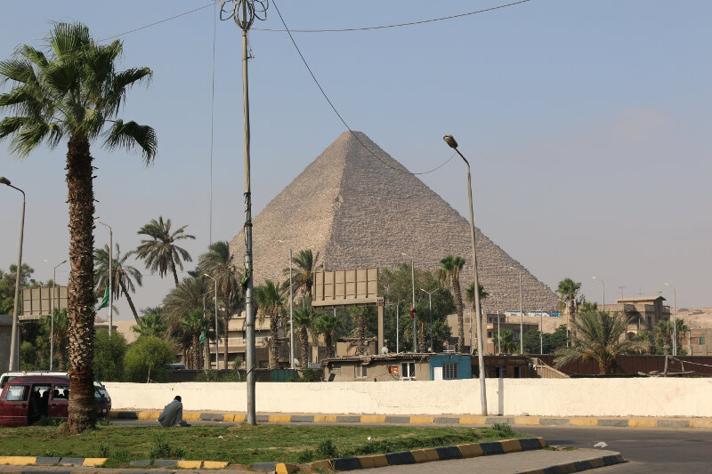 Getting off the bus, the pyramids are hard to miss