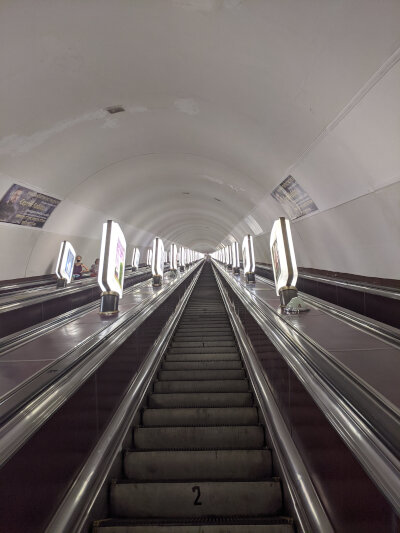 Kyiv's subway is deep underground, probably to double up as bomb shelter
